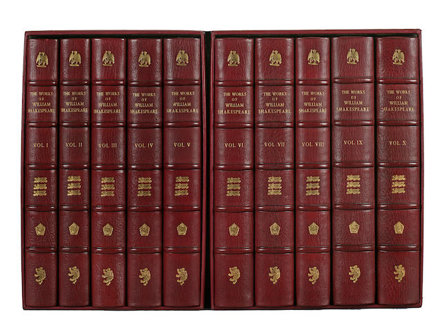 10 volumes of Shakespeare, works; full red morocco, Shakespeare Head Press