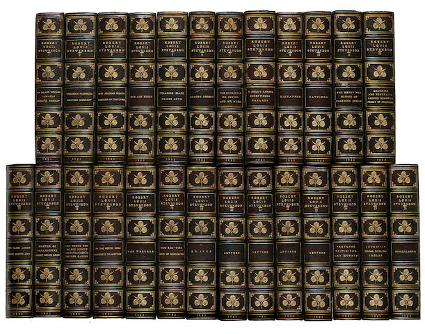 26 volumes by Robert Louis Stevenson, full green morocco with doublers, covers neatly rehinged