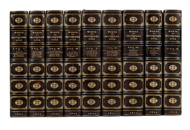 9 volumes of Shakespeare, works, 3/4 wine morocco
