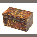 A George III style metal strung tortoiseshell tea caddy 20th century