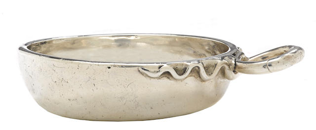 "A Louis XVI provincial silver wine taster with maker's mark: crowned ""RG"", Riom, circa 1775-1781"