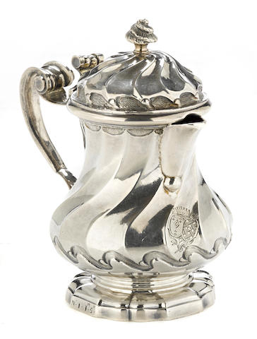 A Louis XV silver small spiral fluted covered pitcher by Antoine Bailly, Paris, circa 1750-1756