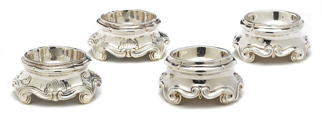 "Two similar pairs of Louis XVI silver trencher salt cellars with maker's mark crowned A pellet ""R"", possibly Avignon<BR />and Possibly Toulon, 1776"
