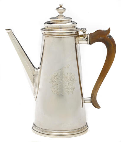 A George I Britannia standard silver coffee pot by John Hugh le Sage, London, 1722