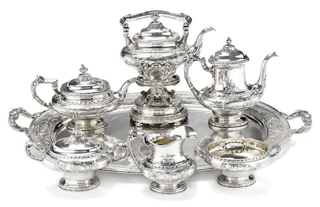 An American sterling silver  custom six piece tea and coffee set with matching two-handled tray by Gorham Mfg. Co., Providence, RI, early 20th century