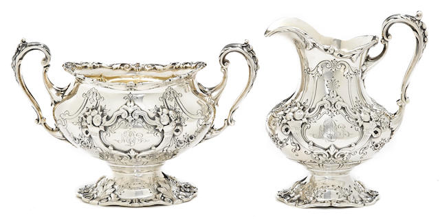 An American  sterling silver  demitasse size cream and sugar set by Reed & Barton, Taunton, MA, 1929