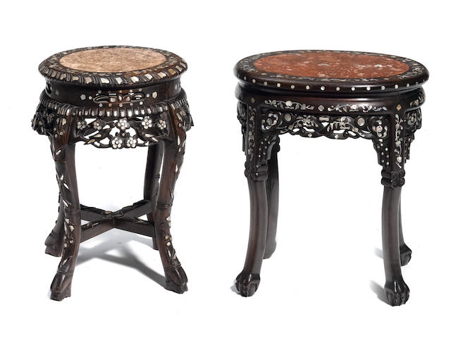 Two Chinese oval shell inlaid hardwood stands
