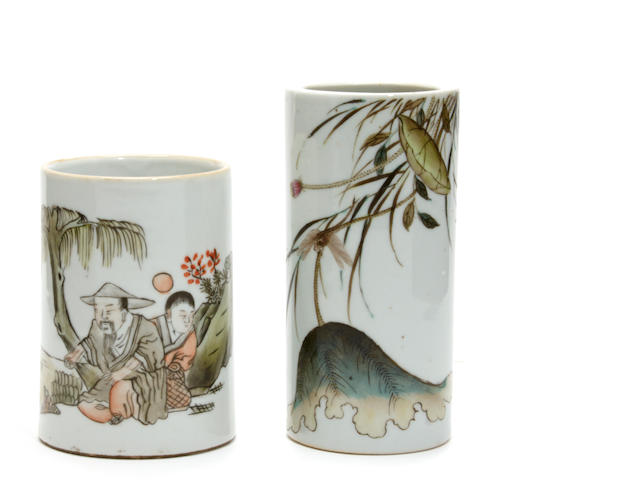 A group of two famille verte brush pots