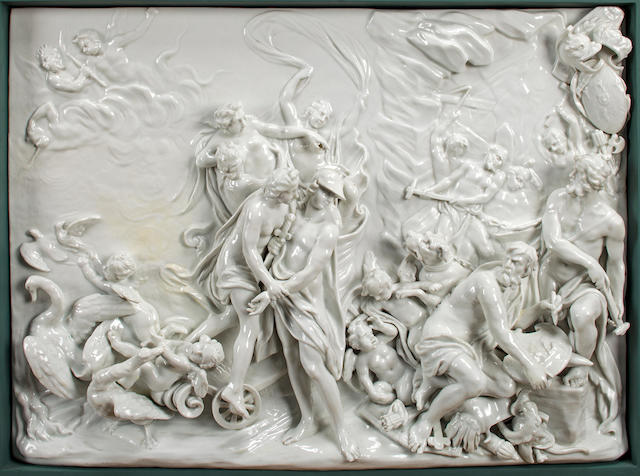 "Two Doccia-Ginori white-glazed rectangular plaques, ""L'Allegoria della Primavera e dell'Inverno""<BR />after models by Massimiliano Soldani Benzi (Italian, 1656-1740)<BR />mid- to late 19th century"