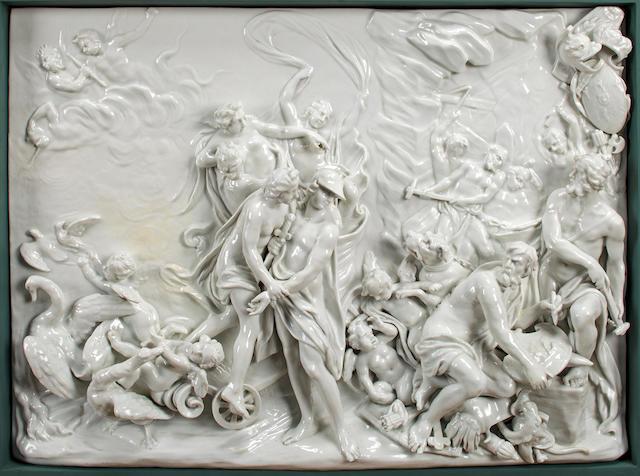 Two Doccia-Ginori white-glazed rectangular plaques: L'Allegoria della Primavera et dull 'Inverno'