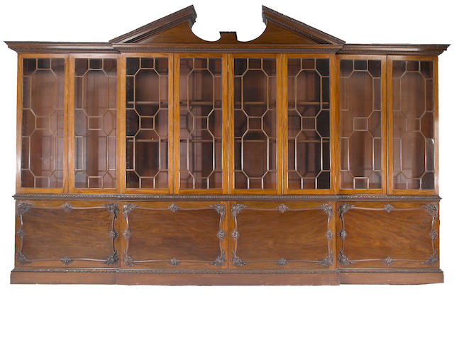 A George III style mahogany breakfront cabinet <BR /> late 19th century/early 20th century