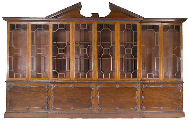 A George III style mahogany breakfront cabinet  early 20th century