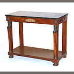 A Continental Neoclassical mahogany gilt bronze mounted marble top console table early 19th century