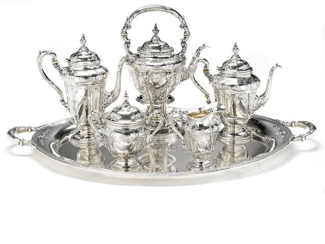 An American  sterling silver five piece tea and coffee service with matching two-handled tray by International Silver Co., Meriden, CT