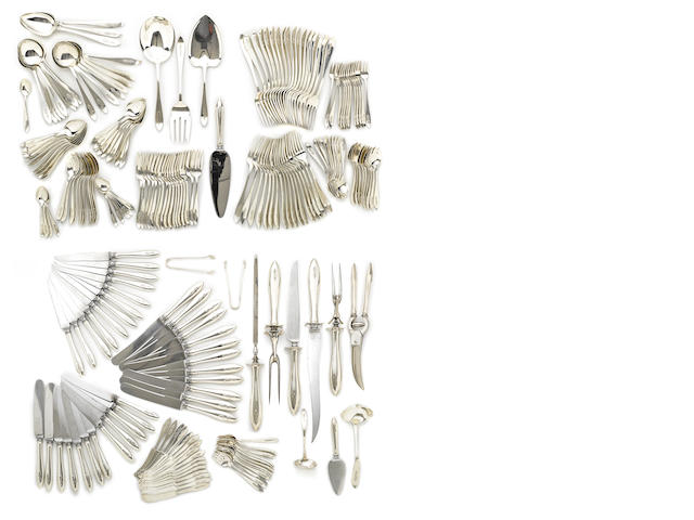 An American sterling silver flatware service by Shreve & Co., San Francisco, CA, 20th century
