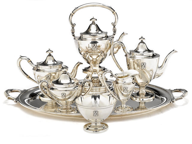 An American  sterling silver  custom six piece tea and coffee set with matching tray by Gorham Mfg. Co., Providence, RI, 1917