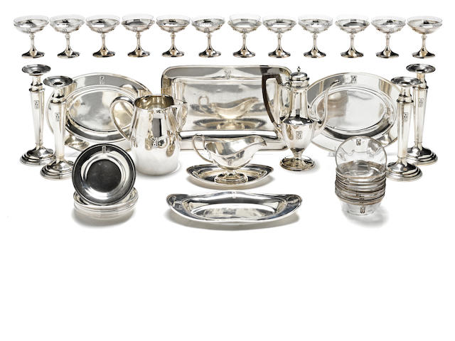 An American sterling silver and glass assembled partial table suite by Gorham Mfg. Co., Providence, RI, 1917 and Shreve & Co., San Francisco, CA, early 20th century