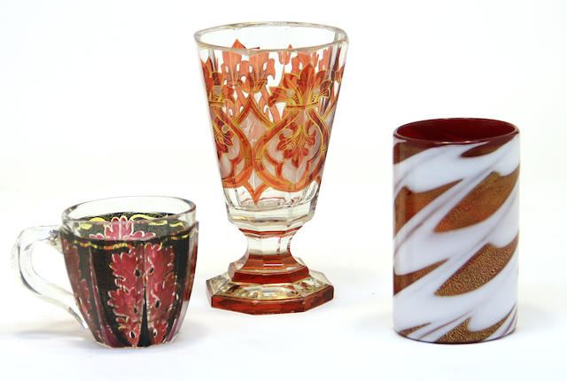 A Bohemian glass goblet, tumbler and a cup 19th century