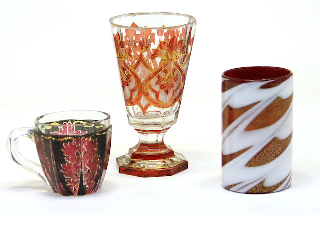 Bohemian glass goblet, tumbler and a cup 19th century