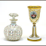 A Bohemian overlay goblet and bottle second half 19th century