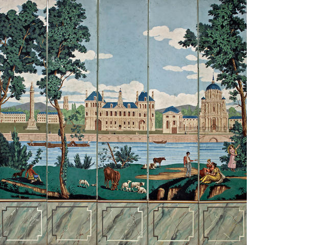 "A French five-panel wallpaper screen  ""Monuments de Paris, 1795-1865,   by Joseph Dufour et Cie,  each panel height 96in; width 19in;  total width open 95in"