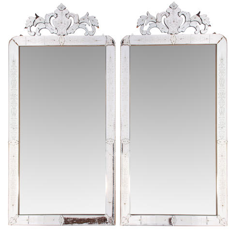 An imposing pair of Venetian style acid etched mirrors