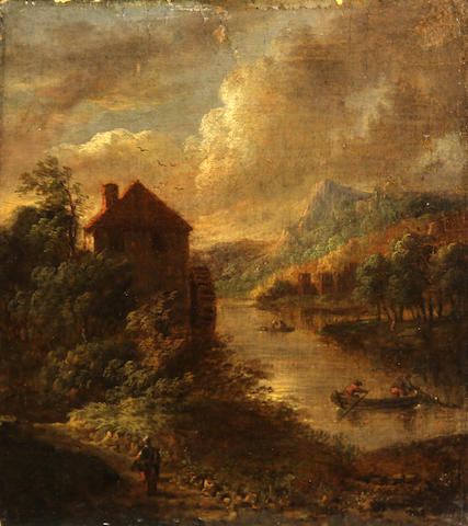 Dutch School SENDING TO BK An extensive landscape with figures fishing on a river and a watermill in the distance 8 x 7 1/2in (20.3 x 19cm) unframed