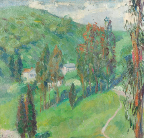Luvena B. Vysekal (American, 1873-1954) A valley with houses and trees 11 x 11 1/2in