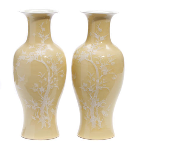 A pair of Japapese yellow ground vases