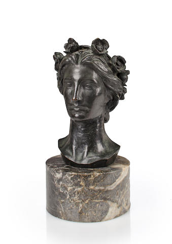 Louis St. Gaudens (American, 1854-1913)<BR /> Bust of Victory<BR />patinated bronze<BR />height 13 1/2 inches