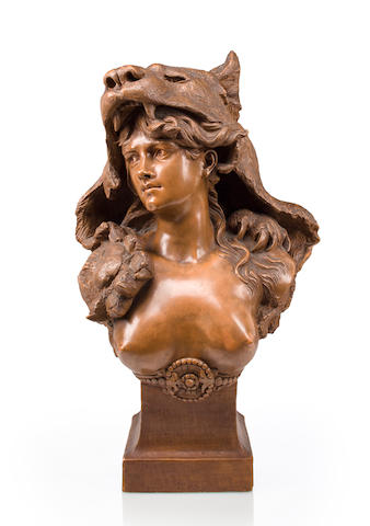 A Frederick Goldschieder patinated terracotta bust: Omphale, Queen of Lydia, after Carrier Belleuse