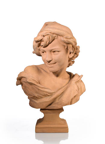 "A terracotta bust, ""Le Rieur Napolitain""<BR />after a model by Jean-Baptiste Carpeaux (French, 1827-1895)"