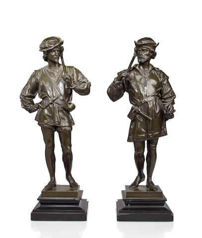A pair of French patinated bronze figures of soldiers after a model by Anatole J. Guillot (French, 1865-1911) late 19th/early 20th century