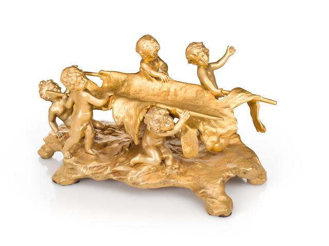 A gilt-bronze figural centerpiece<BR />after a model by Auguste Moreau