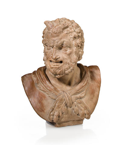 A patinated terracotta bust of a satyr, 18th century