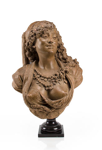 A patinated terracotta bust of an Algerian woman<BR />Albert-Ernest Carrier-Belleuse(French, 1824-1887)