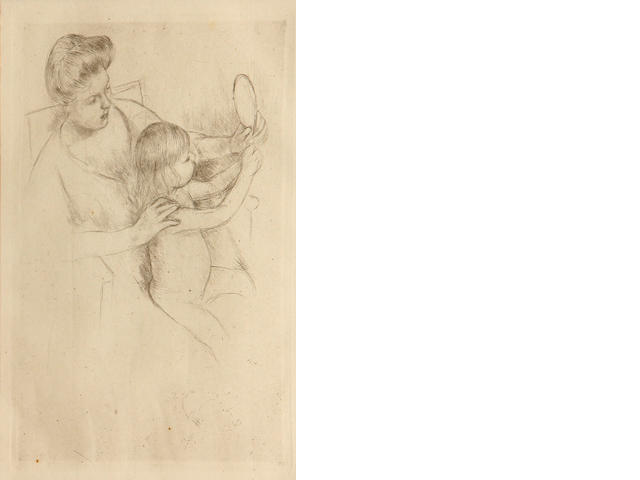 Mary Cassatt, Looking into the hand mirror (B.202), 1905, print (posthumous), 8 x 5 3/4in;