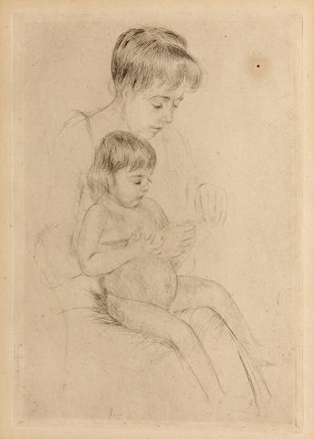 Mary Cassatt, Child, print, plate 8 1/4 x 5 3/4in;
