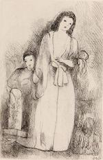 Marie Laurencin (French, 1885-1956); Jeune femme et son fils; Jeune fille à la guitare; (2)