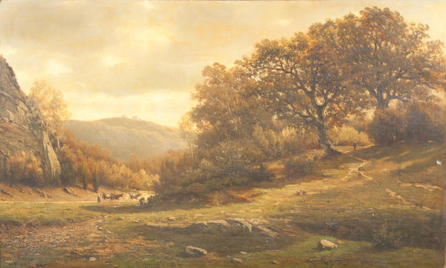 Félix de Baerdemaeker (Belgian, 1836-1878) An extensive wooded landscape with a figure and cattle on a path 23 1/2 x 39in