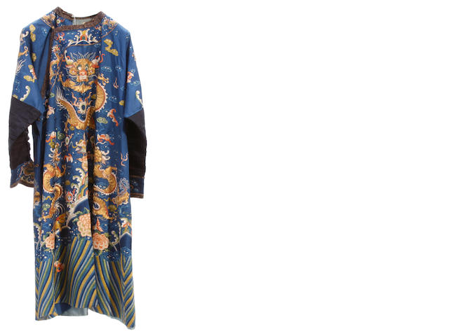 An embroidered blue silk robe