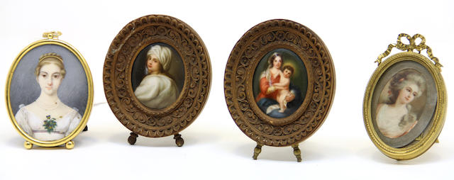 Two miniature porcelain plaques, portrait miniature and colored print early 19th/early 20th century