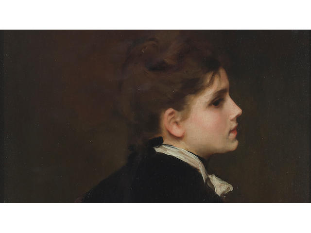 Gustave Jean Jacquet (French, 1846-1909) A young woman in profile 13 x 10 3/4in (33 x 27.3cm)