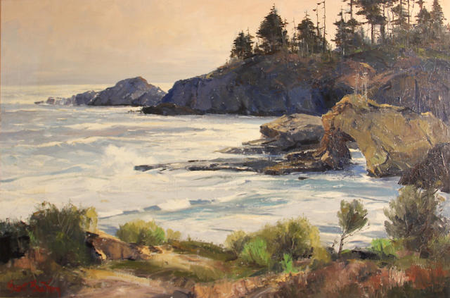 Bennet Bradbury Coastal view signed 'Bennet Bradbury' (lower left) oil on canvas 24 x 36in
