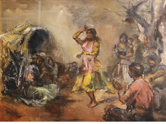 French school Gypsy Dancer signed (lower left) oil on canvas 21 x 28 1/2in