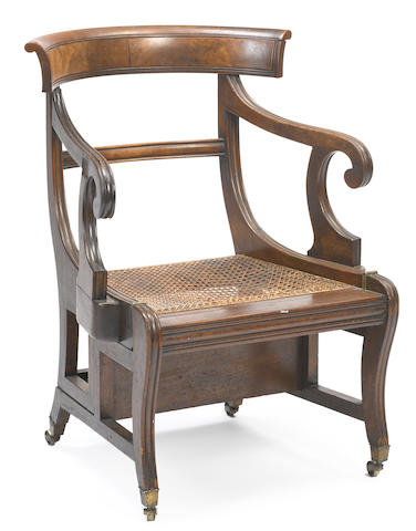 An English Regency mahogany metamorphic armchair first quarter 19th century