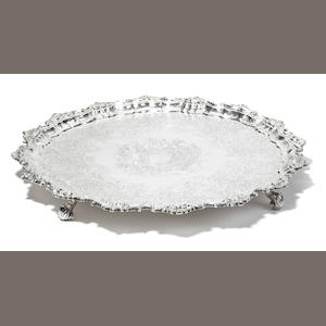 A George II  sterling silver  circular footed salver by John Robinson II, London,  1743