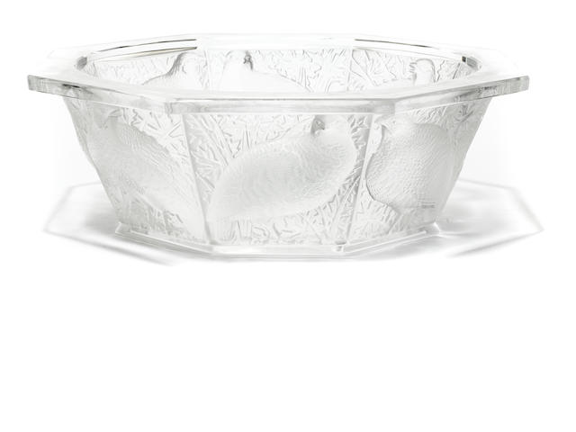 A Lalique molded glass bowl: Perdrix