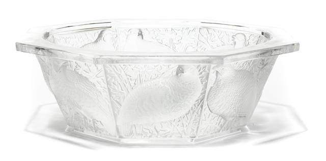 A Lalique molded glass bowl: Perdrix