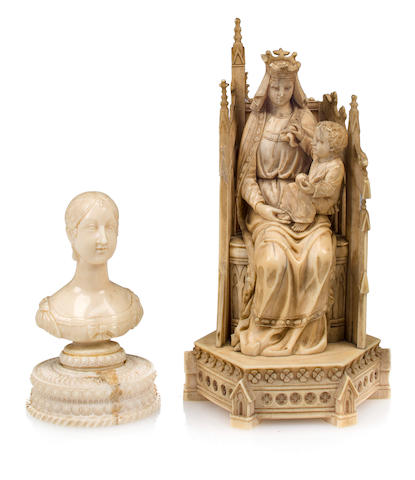 A Gothic style carved ivory Madonna and Child Enthroned, and a small ivory bust